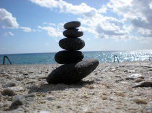 Rocks balanced on the beach